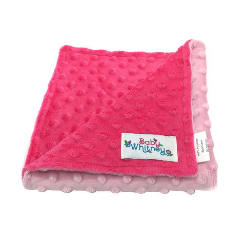 Minky Reverse Baby Doll Blanket, Pink/Hot PInk