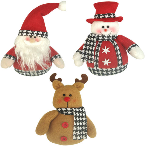 3-Pack Holiday Houndstooth Ornaments, 5