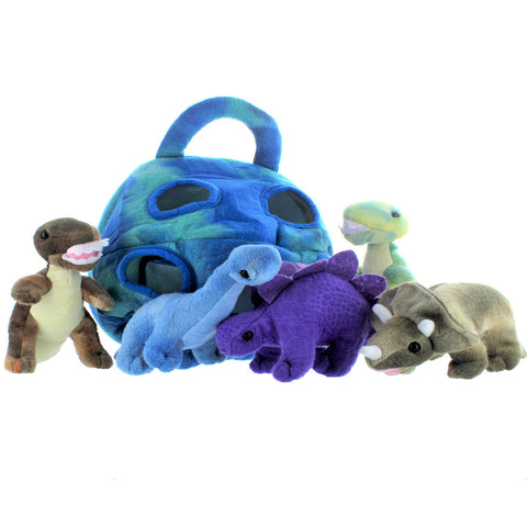 5 Pack Dinosaur Plush Playset With Carrying Case