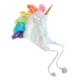 Plush White Soft Fuzzy Unicorn Adult Hat