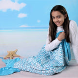Girls Blue Scales Mermaid Blanket