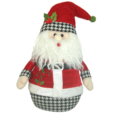 Holiday Houndstooth Round Santa, 12""