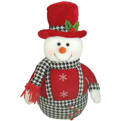 Holiday Houndstooth Round Snowman, 12""