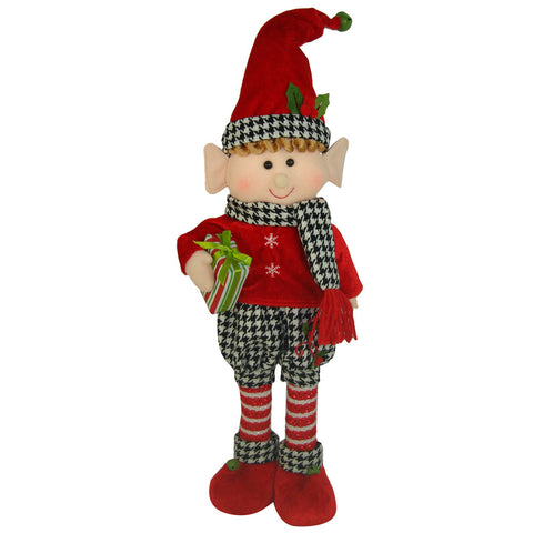 Holiday Houndstooth Standing Elf Boy, 17""