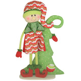 Red Striped Standing Elf with Christmas Tree