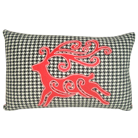 Holiday Houndstooth Reindeer Pillow, 16""