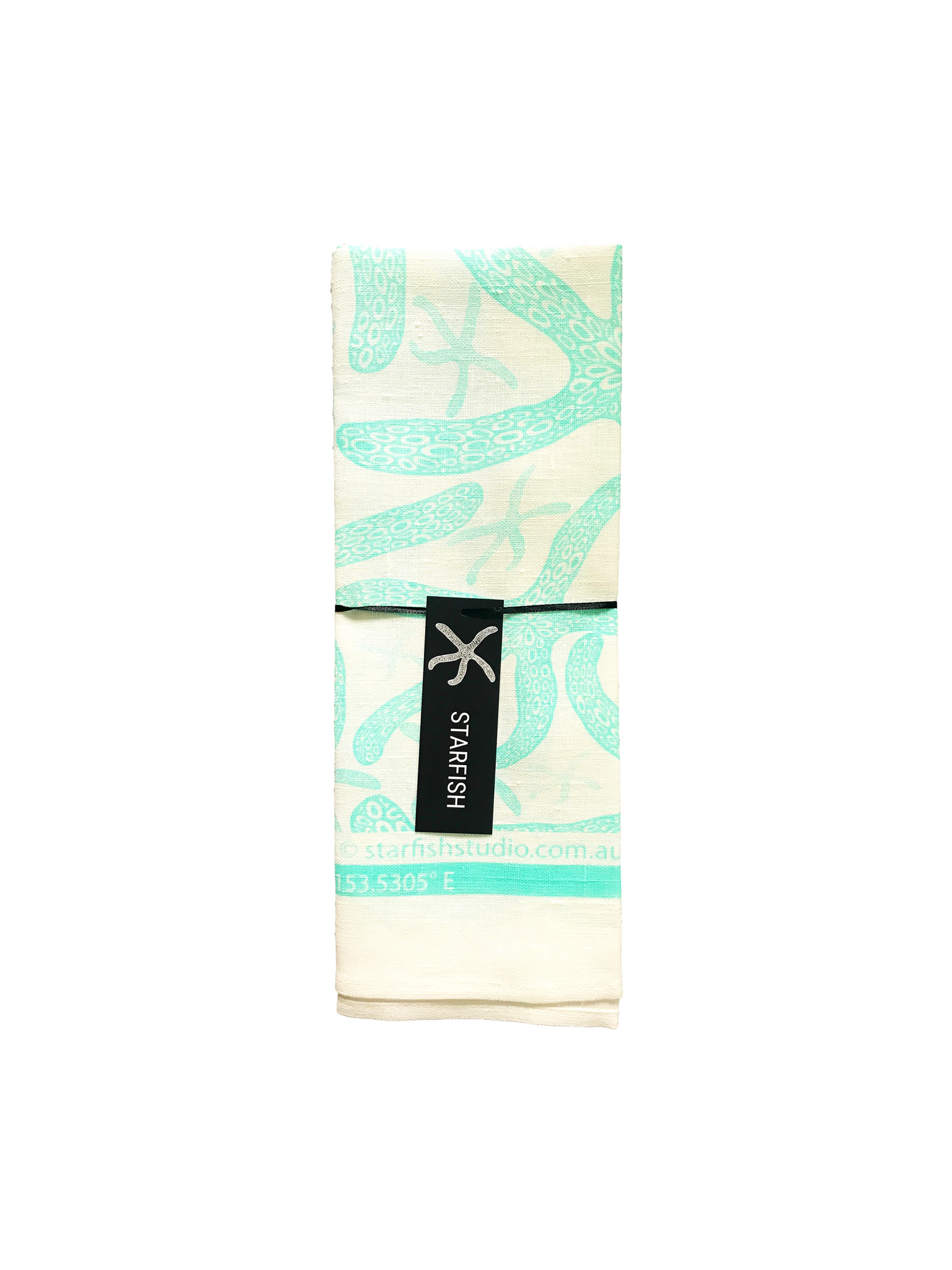 Pure Linen Tea Towel, Starfish teal