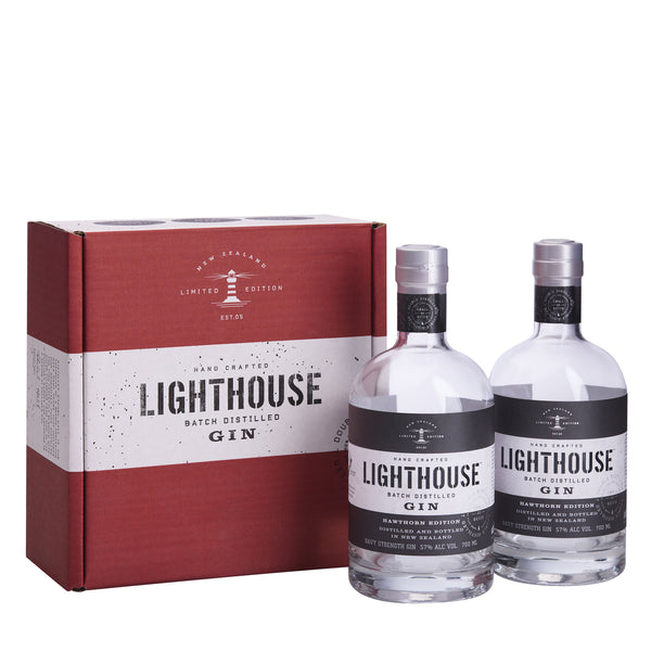 Two bottles of 700ml Lighthouse Gin Hawthorn Edition presented in a Lighthouse Gin shipper box - perfect as a gift or enjoy yourself!