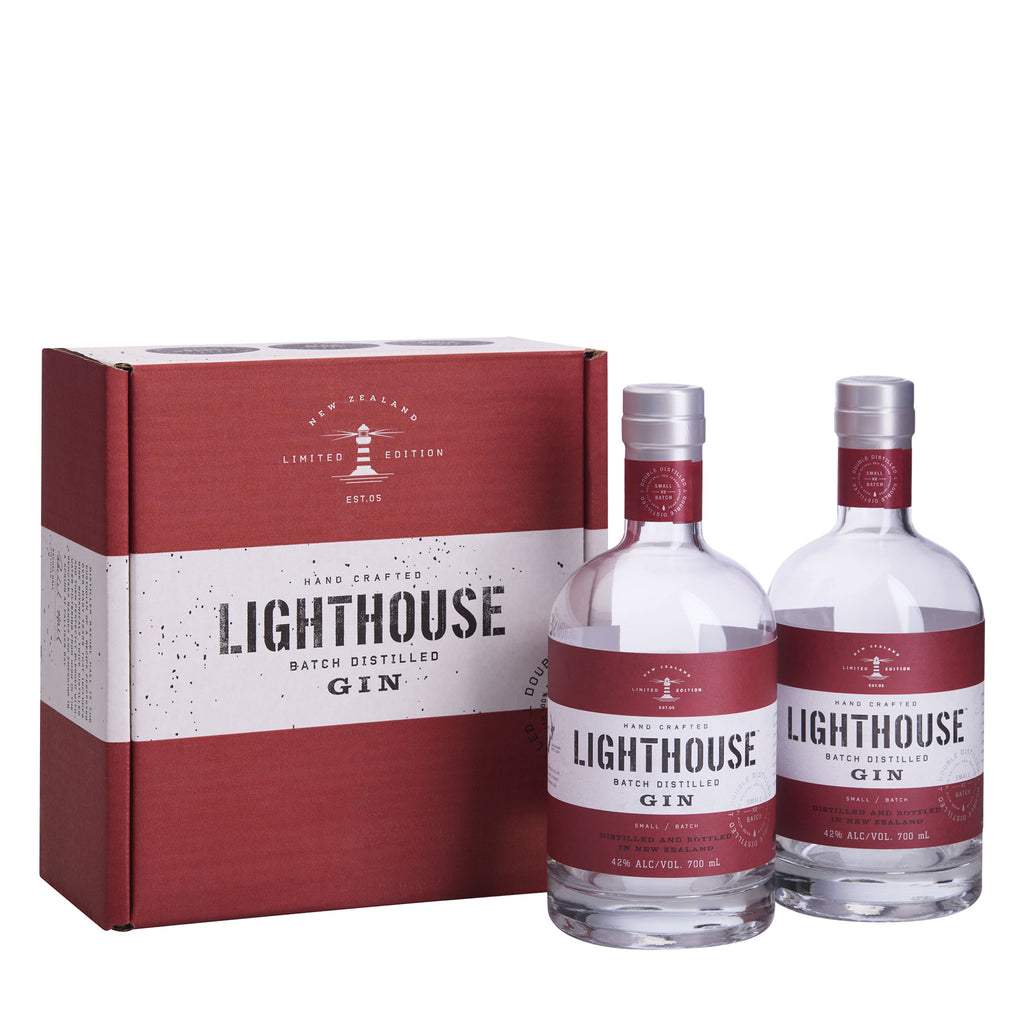 Two bottles of 700ml Lighthouse Gin Original presented in a Lighthouse Gin shipper box - perfect as a gift or enjoy yourself!