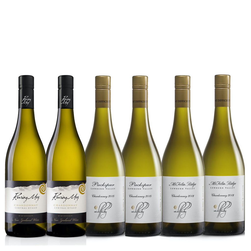 A selection of fantastic chardonnays from vineyards around Central Otago, including Roaring Meg, Packspur Vineyard and McFelin Ridge Single Vineyard from our most recent 2018 vintage.
