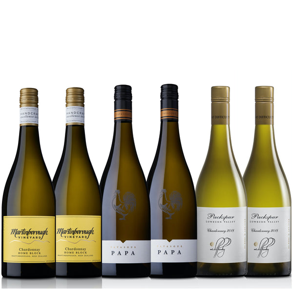 Discover a diversity of New Zealand Chardonnay styles with this showcase of top tier Martinborough, Marlborough and Central Otago expressions.  Pack includes: 2 bottles - Martinborough Vineyard Home Block Chardonnay 2018 2 bottles - Vavasour Papa Chardonnay 2018 2 bottles - Mt Difficulty Packspur Chardonnay 2018