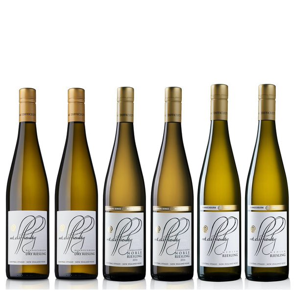 All the classic hits of Mt Difficulty Riesling in one case. 2x bottles each of Target Gully Riesling 2018, Silver Tussock Riesling 2016, and Bannockburn Dry Riesling 2018. Drink a bottle of each now an put the others aside to see how they develop and mature over time. A journey through Mt Difficulty's favourite Rieslings from dry, to medium to sweet. Something for everyone (or every dinner party!). Great to have at home as a sweet way to finish an evening with friends.