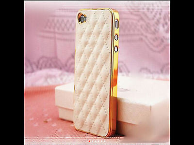 iPhone 5s White Leather with Gold Trim Case