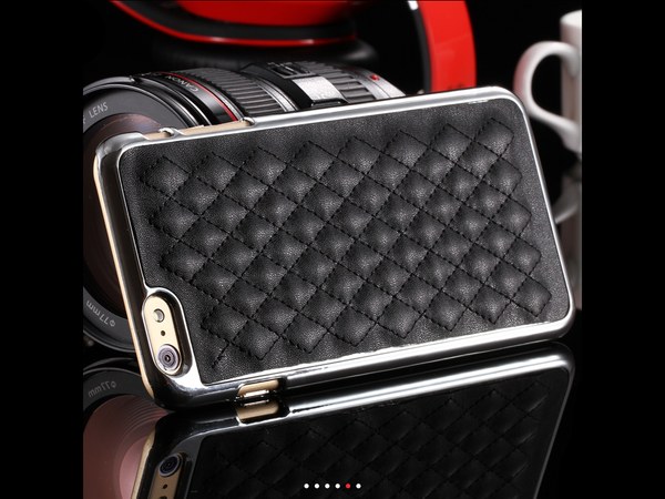 Premium Black iPhone 6 Swiss Leather Case with Gold/Silver Trim