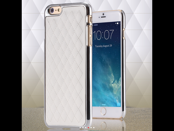 Premium White Swiss Leather iPhone 6 Case with Gold/Silver Trim