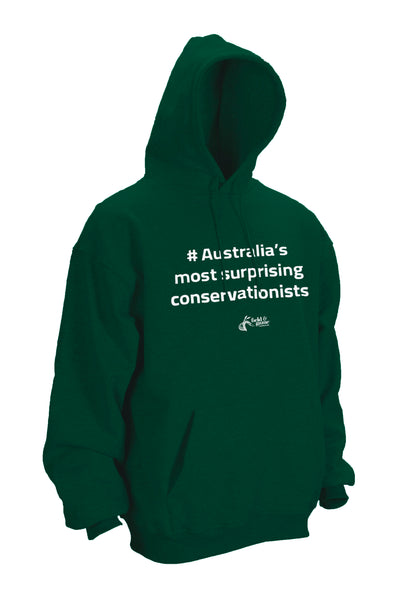 Hoodie Green with white screen print,