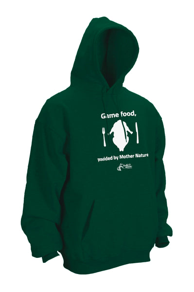 Hoodie Green, White screen print.