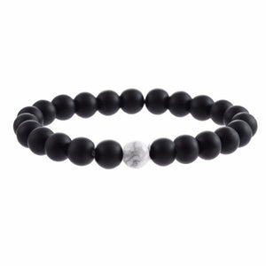 2Pcs/Set Couples Bracelet with 100% Natural Stone White and Black - Instant Essentials