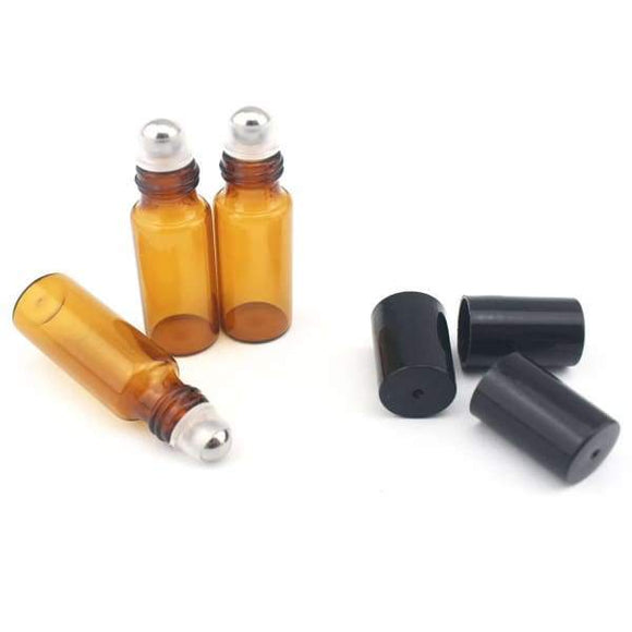 5 ML Stainless Steel Ball, Amber Glass Roller Bottles (4-Pack) - Instant Essentials