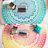 Beach Blanket Tapestry Hippie Indian Round Picnic Table Cover Hippy Spread Boho Gypsy Cotton Tablecloth Beach Towel Meditation Rug Circle Yoga Mat- 72 Inches, Yellow and Green - Instant Essentials