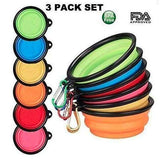 Collapsible Dog Bowls with Color Matched Carabiner Clips - Instant Essentials