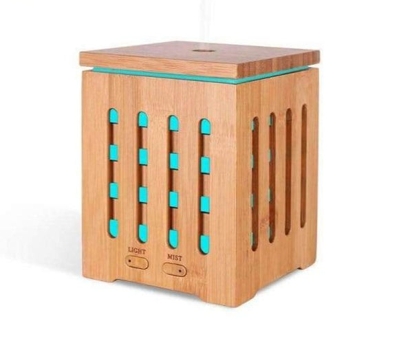 DEVISIB Real Bamboo Essential Oil Diffuser Ultrasonic Aromatherapy Diffusers with 7 LED Colorful Lights and Waterless Auto Shut - Instant Essentials