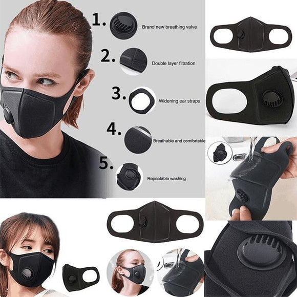 Help prevent the spread of Corona Virus . YOU NEED THIS ## Black Anti Dust Mask PM2.5 Breathing Filter Valve - Instant Essentials