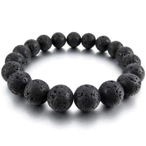 Lava Rock Beads Essential Oil Bracelet (Black Stones) - Instant Essentials
