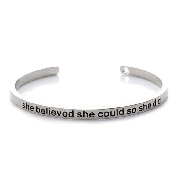 She Believed She Could So She Did Cuff Bangle - Instant Essentials