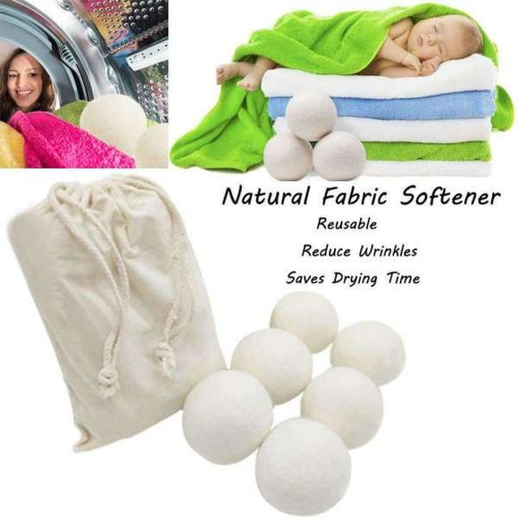 Sheep 6-Pack Premium Wool Dryer Balls Reusable Natural Fabric Softener 6CM - Instant Essentials