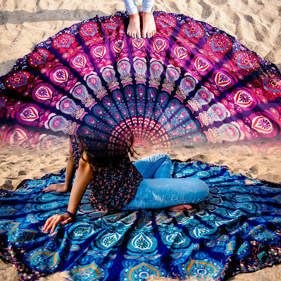 Tapestry Hippie Indian Round Mandala Beach Blanket Picnic Table Cover Boho Gypsy Cotton Tablecloth Beach Towel Meditation Rug Circle Yoga Mat - 72 Inches, Blue and Pink - Instant Essentials