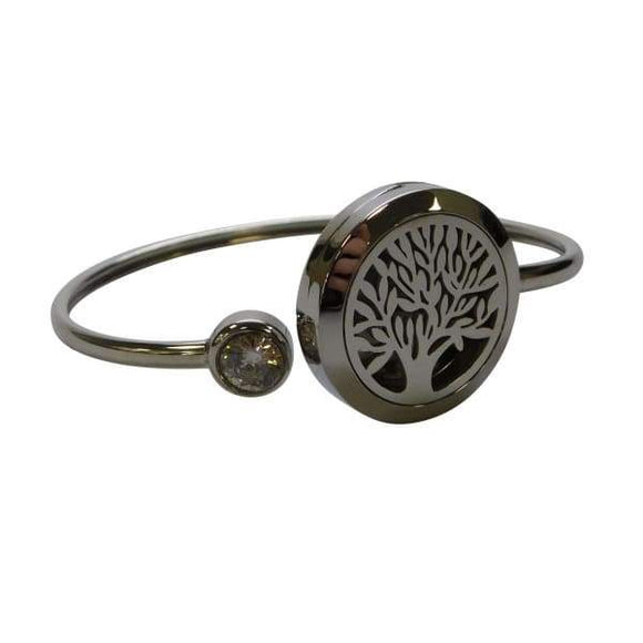 Tree of Life Aromatherapy Diffuser Magnetic Locket Bracelet 316 L Stainless Steel Bangle With DIY Colors Pads - Instant Essentials