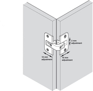 Pie-Cut Centre Corner Hinge (single) - Fullie Hardware