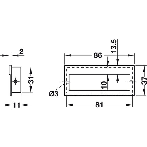 Recessed Flush Inset handle Diagram