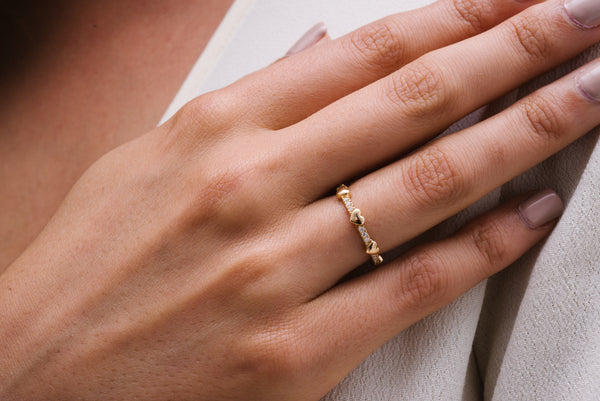 The Gold Heart and Diamonds Ring