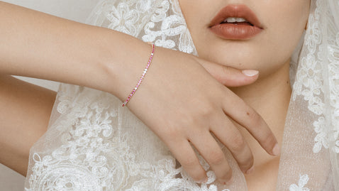 The Pink Sapphire and White Diamond Tennis Bracelet