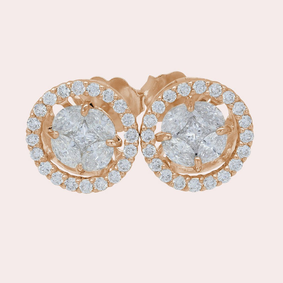 0a1a2f245 18-Karat Gold Stud Earrings with 1 Carat Total Weight Hand-Set Pavé ...
