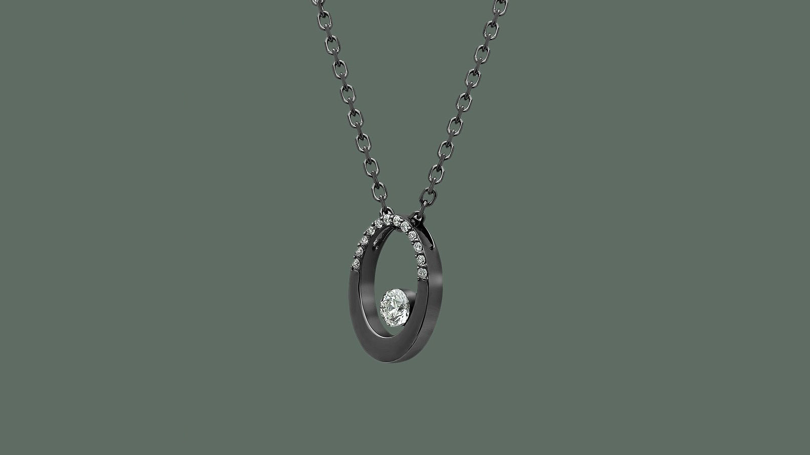 The Oval Floating Diamond Necklace