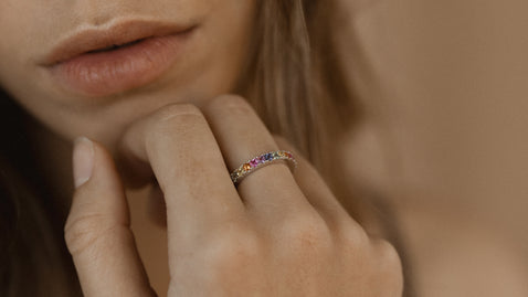 Princess Cut Multi Sapphire Eternity Band