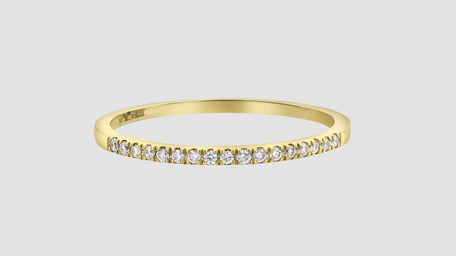 a8d93a4d5a734 18 Karat Gold Semi Eternity Petite Diamond Ring with 0.08 Carat Total Weight