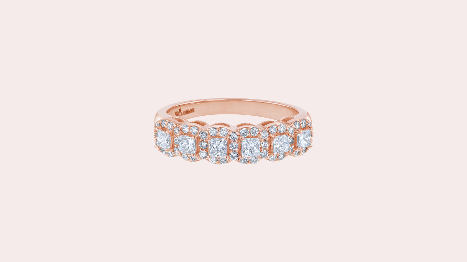 The Princess Diamond Halo Half Band Ring
