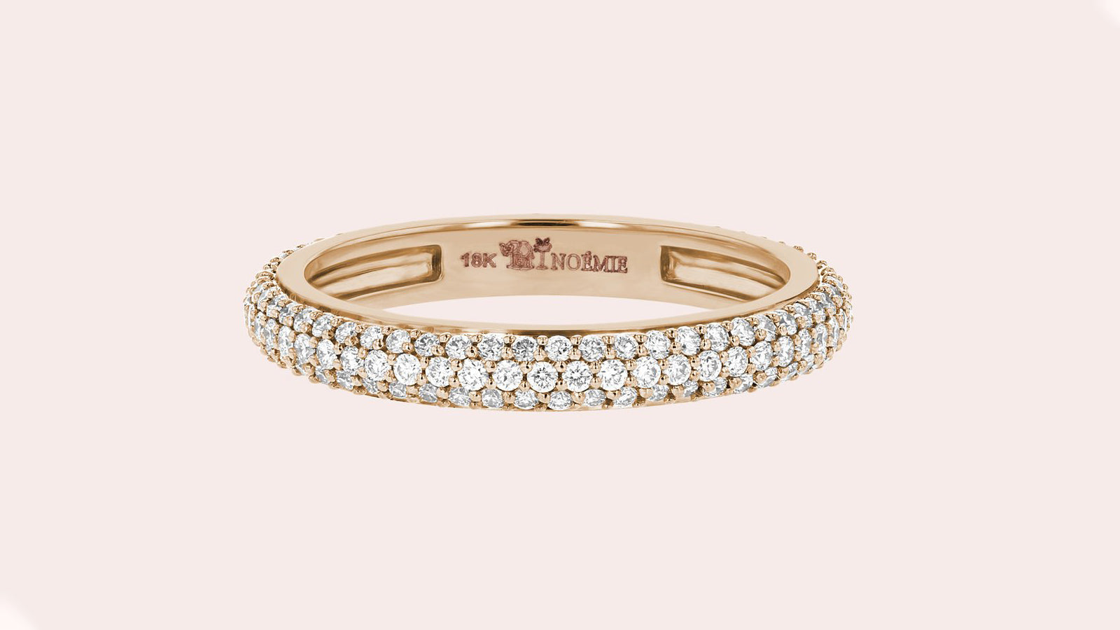 3-Row Micro Pave White Diamond Band