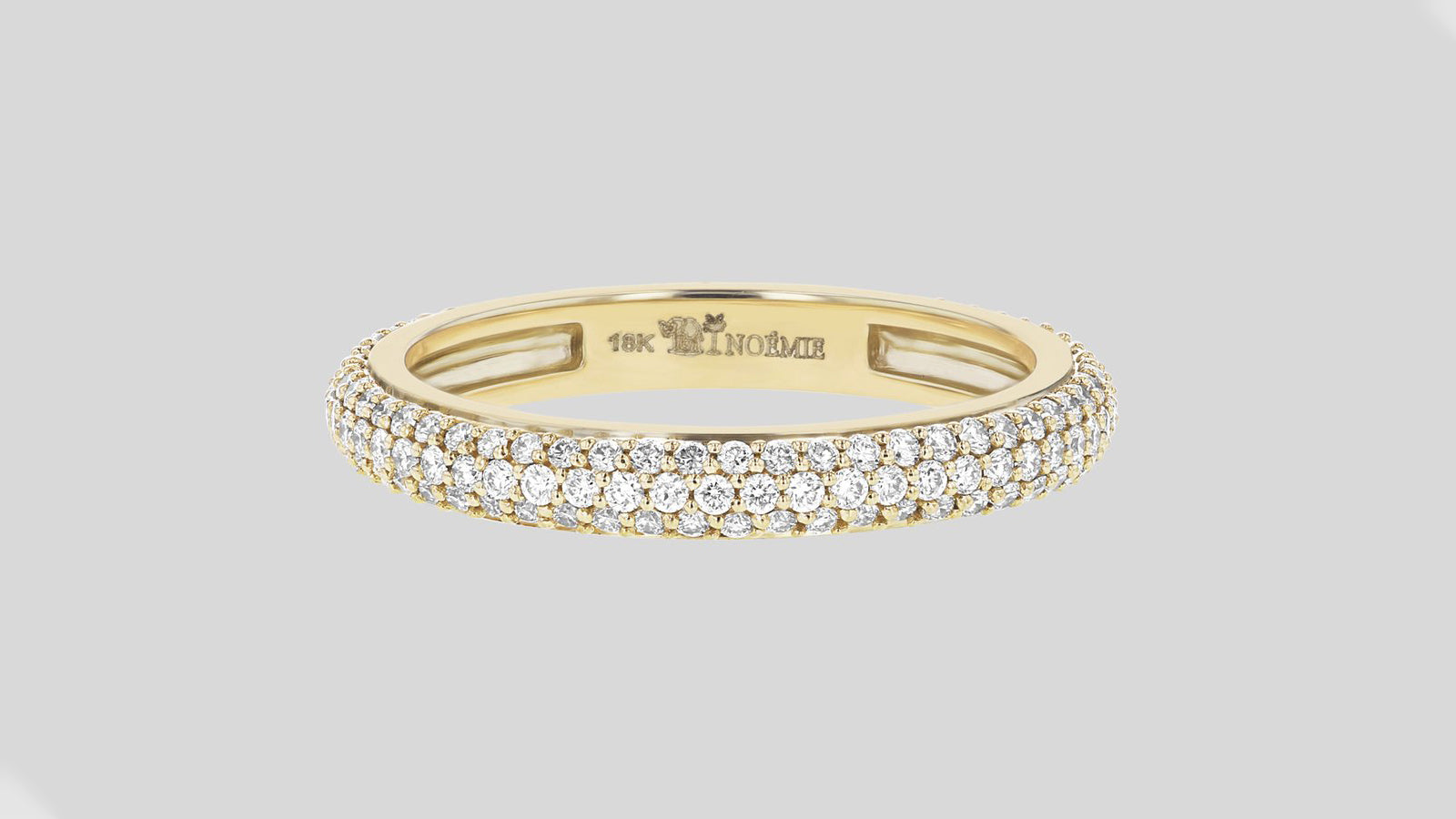 3-Row Pave White Diamond Band