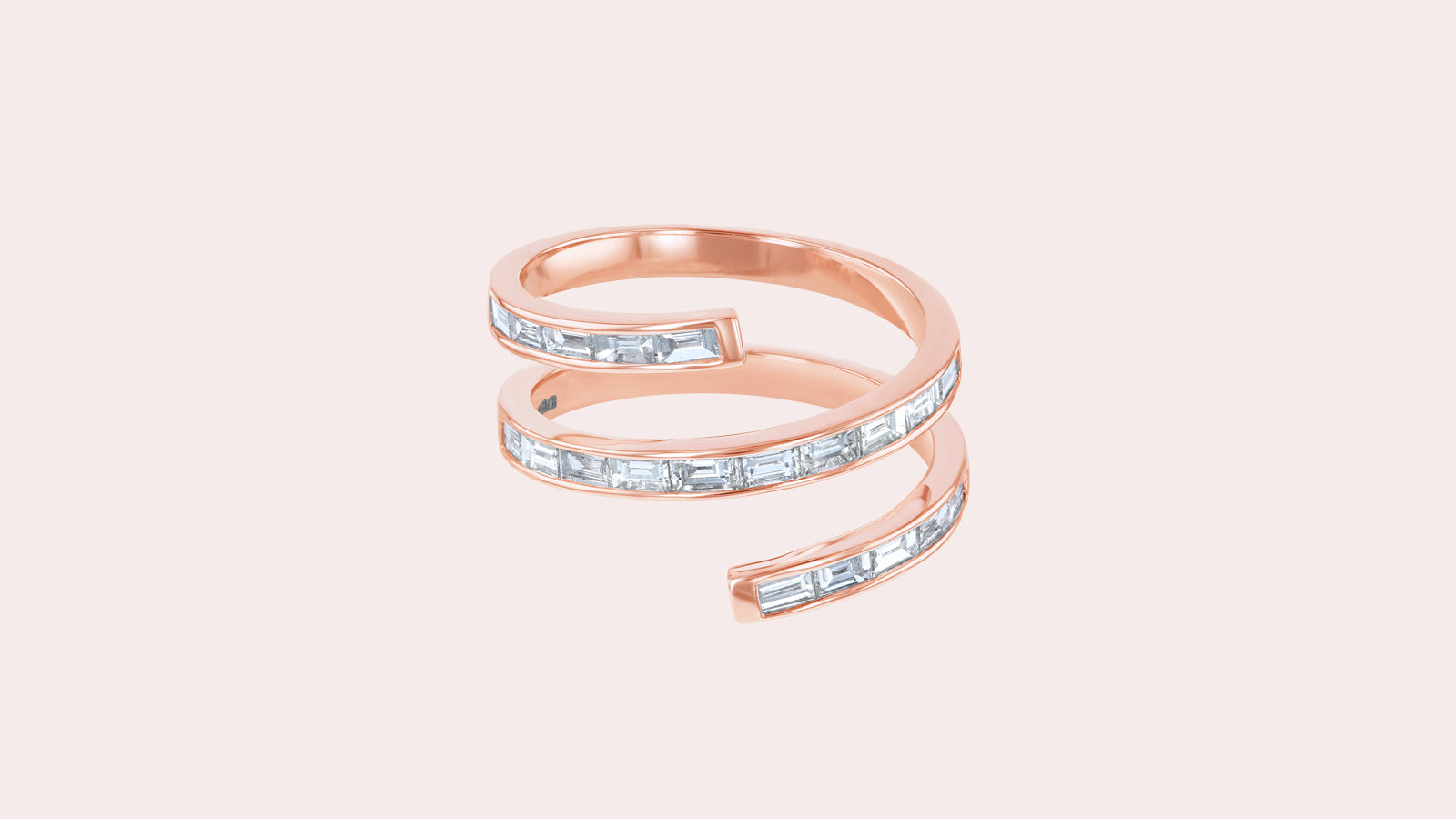 The Spiral Baguette Diamond Ring