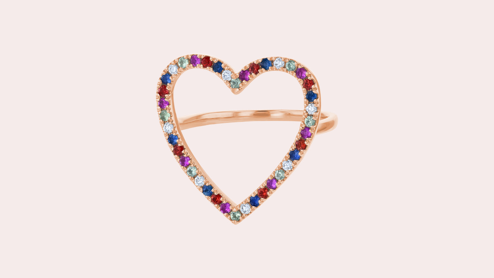 The Open Heart Sapphires Ring