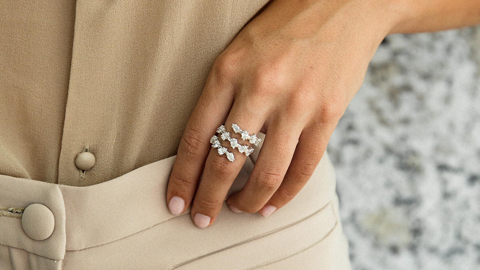 The Pear Diamond Spiral Ring