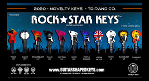 Rock Star Keys by TD RAND CO. Slide 4, Guitar shaped keys, key blanks, guitar keys, house keyss