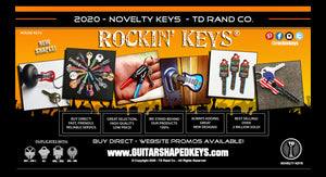 Rockin Keys by TD RAND CO. Guitar shaped key blanks, keys wholesale, light saber  shaped keys, space keys, key shapes, printed keys, manufacturer, distributor.