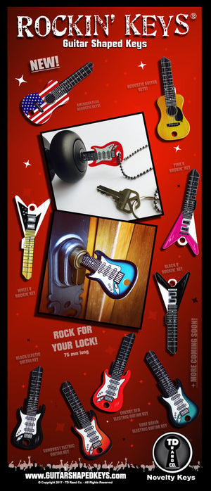 Rockin Keys by TD RAND CO. Promo image, Guitar Shaped Keys.