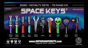 Space Keys by TD RAND CO. Slide 2 saber keys, ufo, alien, space force keys.